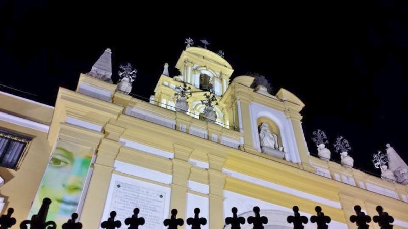 Detalle de la fachada de la basílica de la Macarena