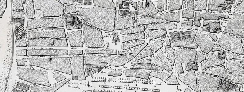 La calle Feria, incluyendo su último tramo, que entonces se denominaba calle Linos, en el plano de Olavide